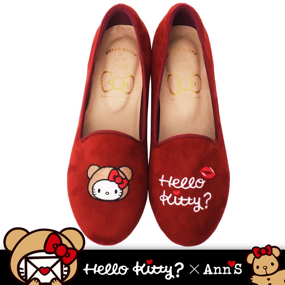HELLO KITTY X Ann'S棕色熊熊不對稱彩色刺繡內增高樂福鞋-紅(版型偏大)
