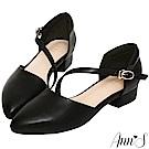Ann'S瘦瘦的-延伸修長腳背斜帶低跟尖頭鞋-黑(版型偏大)