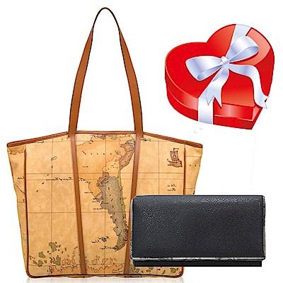 Alviero Martini 義大利地圖包 超值限量組 肩背包+扣式長夾