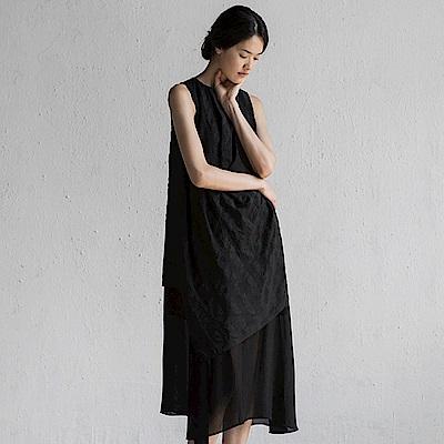 旅途原品_遙光_原創設計亞麻拼接不規則連衣裙-黑色