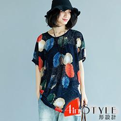 水彩風圓點印花短袖上衣 (花色)-4inSTYLE形設計