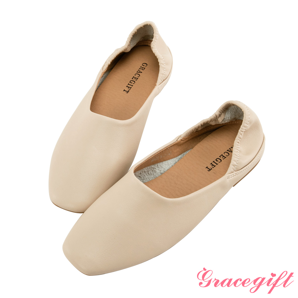 Grace gift-柔軟素面平底便鞋 米白