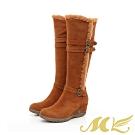MK-簡單時髦俐落膝下靴雪地長靴-棕色