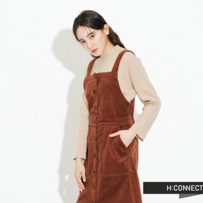 H:CONNECT 韓國品牌 女裝-絨面排扣長洋裝-棕