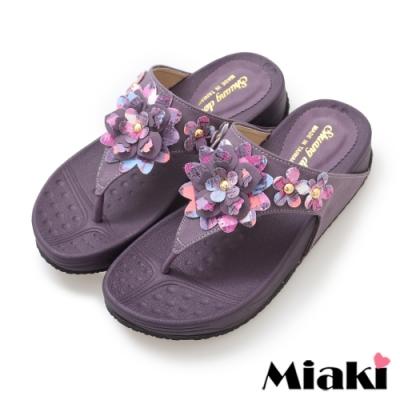 Miaki-拖鞋甜美時尚小花厚底涼鞋-紫