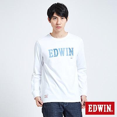 EDWIN 職人手作 牛仔印花LOGO長袖T恤-男-白色