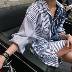 La Belleza藍色條紋拼接白色條紋對拼色開釦落肩長版襯衫