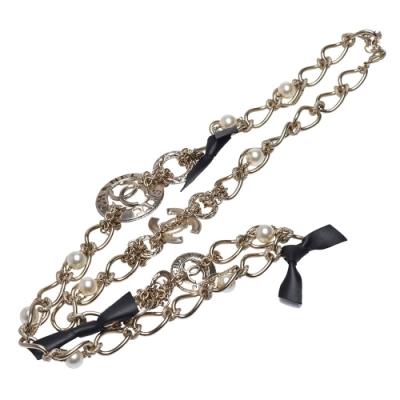 CHANEL 經典圓形雙C LOGO皮革配飾造型長項鍊/腰鍊(金)