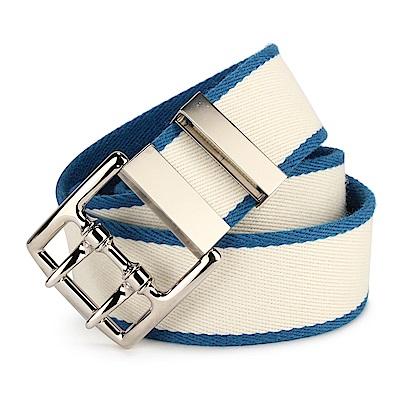 HERMES 羊毛雙層拼色扣式皮帶-藍白