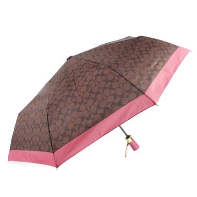 COACH 經典滿版C LOGO圖案全自動開闔晴雨傘-深咖啡/莓紅色