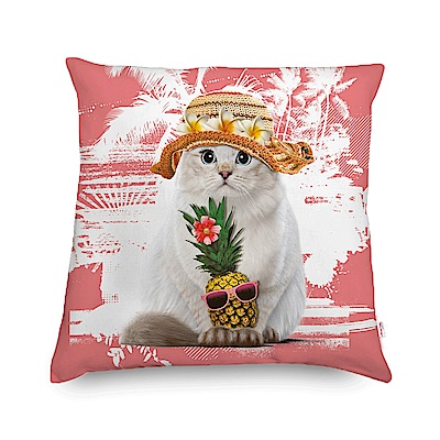 法國數位藝廊 貓貓抱枕/靠墊-邁阿密假期(蜜桃粉)-含芯60x60
