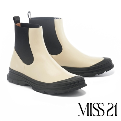 短靴 MISS 21 潮酷日常牛皮側鬆緊圓頭厚底短靴-奶白