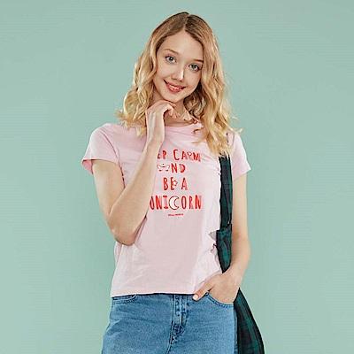 GIORDANO 女裝夢幻獨角獸系列印花T恤-72 女郎粉