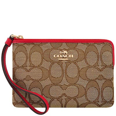 COACH 紅色大C織紋手拿包