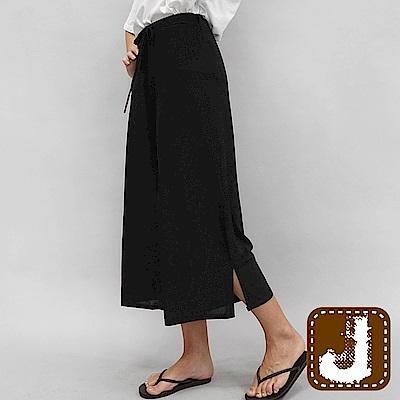 正韓 顯瘦側岔腰綁帶寬涼褲-(共三色)100%Korea Jeans