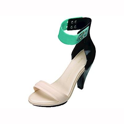 MELISSA P. L.設計師高跟鞋-綠/黑