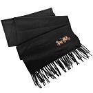 COACH黑色素面馬車刺繡喀什米爾羊毛圍巾(183x30cm)