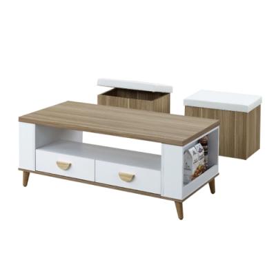 文創集 海尼斯 現代雙色4尺二抽大茶几(附贈小椅凳二張)-120x60x48cm免組