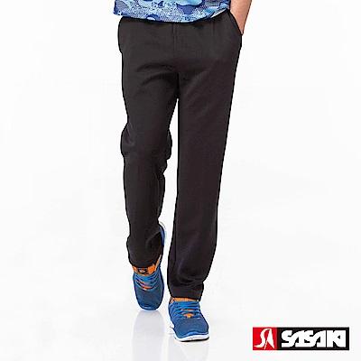 SASAKI 快速排汗伸縮功能針織運動長褲-男-黑