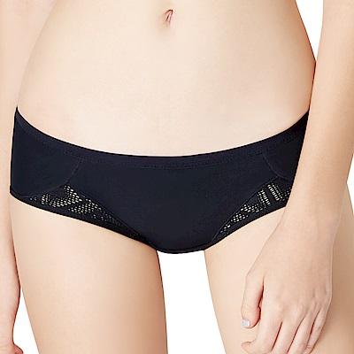 思薇爾 i動洞系列M-XL素面低腰平口內褲(黑色)