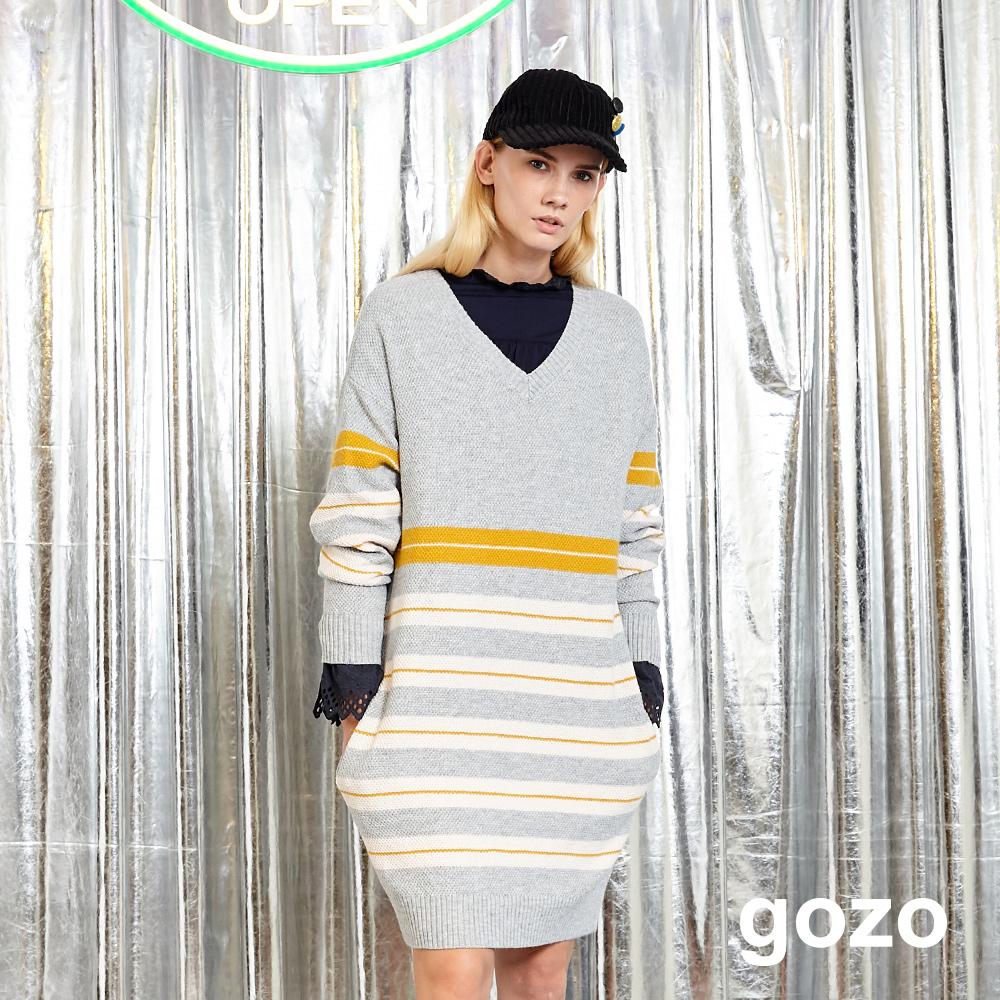 gozo 撞色條紋V領長版針織上衣(灰色)