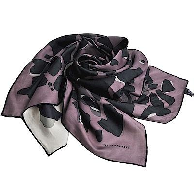 BURBERRY 義大利製品牌LOGO豹紋圖騰絲領巾(灰/卡其/90x90)