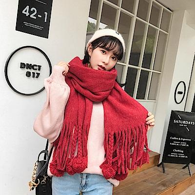 梨花HaNA 暖冬將至毛毛球兒毛線可愛感覺圍巾