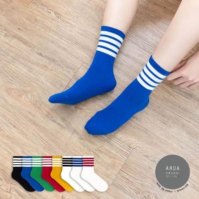 阿華有事嗎  韓國襪子 百搭四條紋襪口中筒襪  韓妞必備 正韓百搭純棉襪