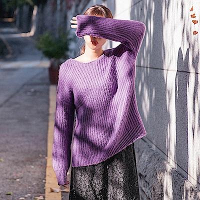 純色立體壓紋寬版粗針織毛衣-OB嚴選