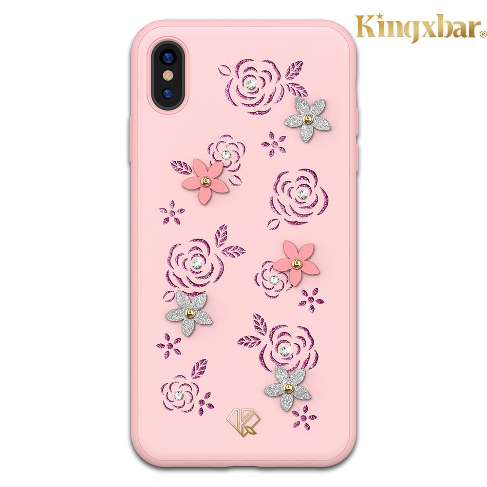 Kingxbar iPhone XS Max(6.5吋)施華彩鑽水鑽手機殼-玫瑰花