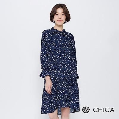 CHICA 秋日小雛菊綁帶荷葉剪裁洋裝(2色)