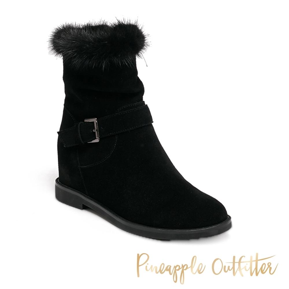 Pineapple Outfitter-BERIL 基本絨毛保暖釦環中筒靴-黑色