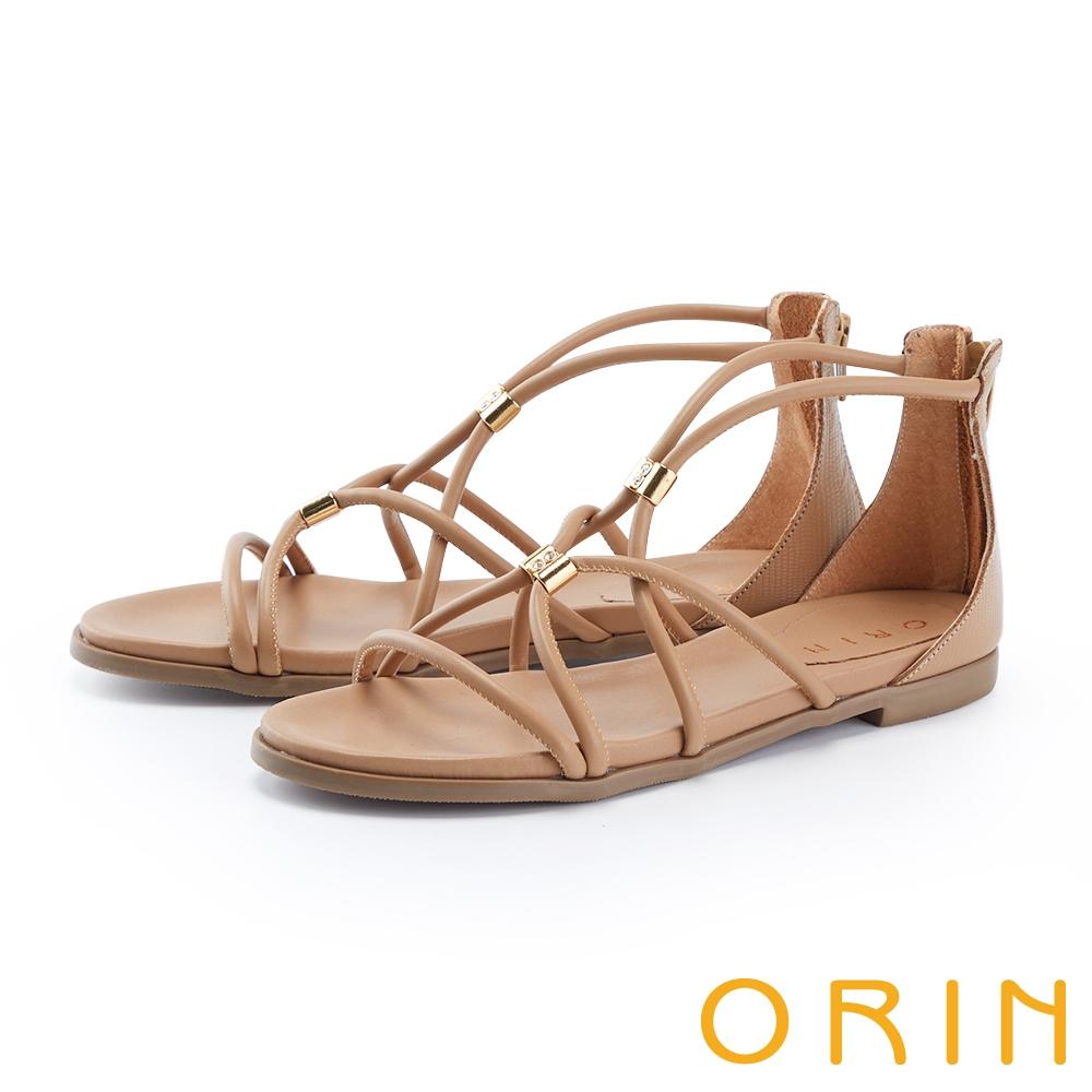 ORIN 羅馬真皮後包平底 女 涼鞋 棕色