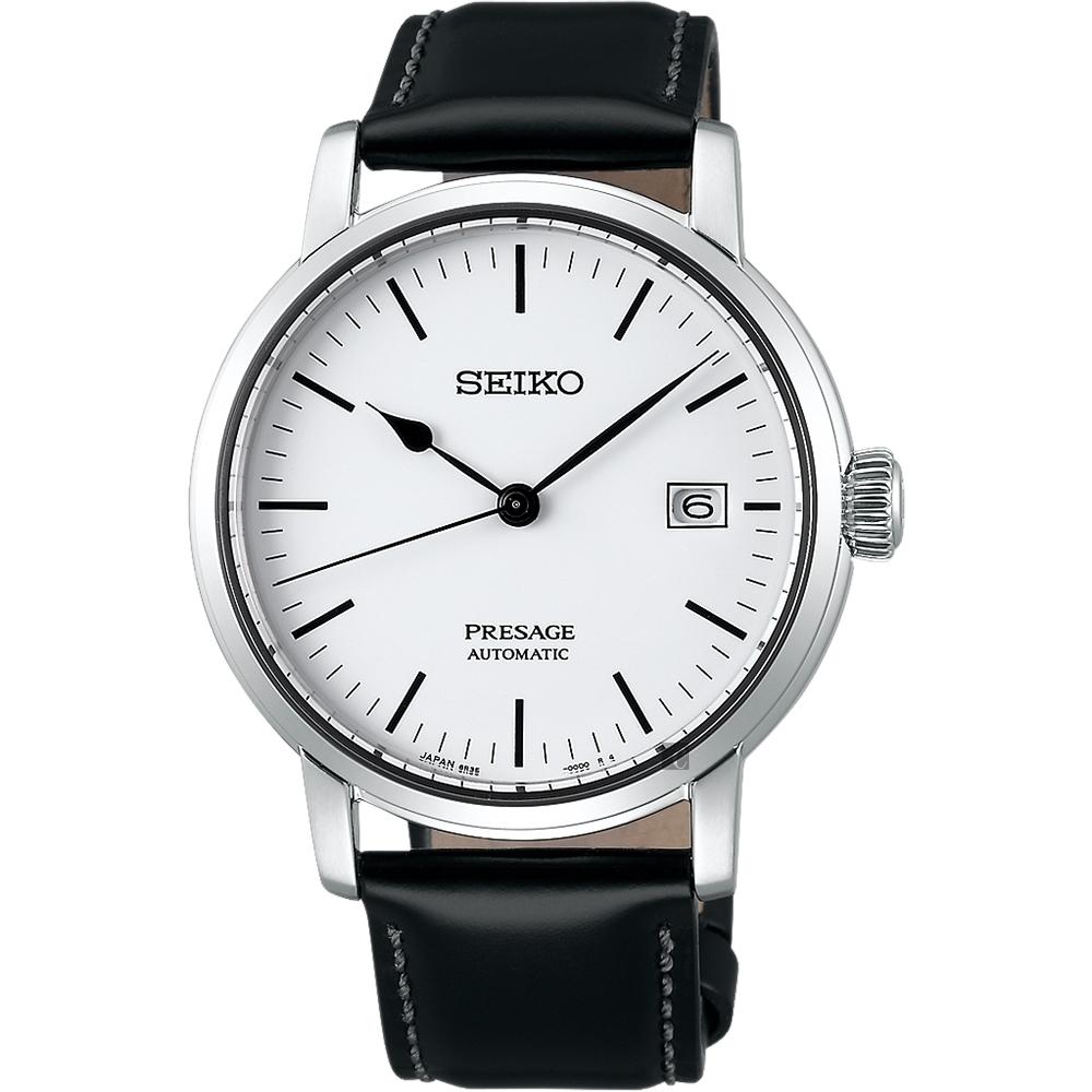 SEIKO PRESAGE 琺瑯工藝機械錶-白/40mm(SPB113J1)