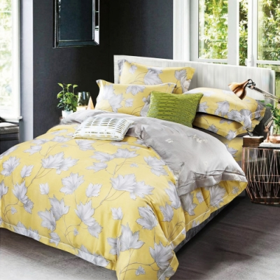 Saint Rose頂級精緻100%天絲床罩八件組(包覆高度35CM)-洛西-黃 特大