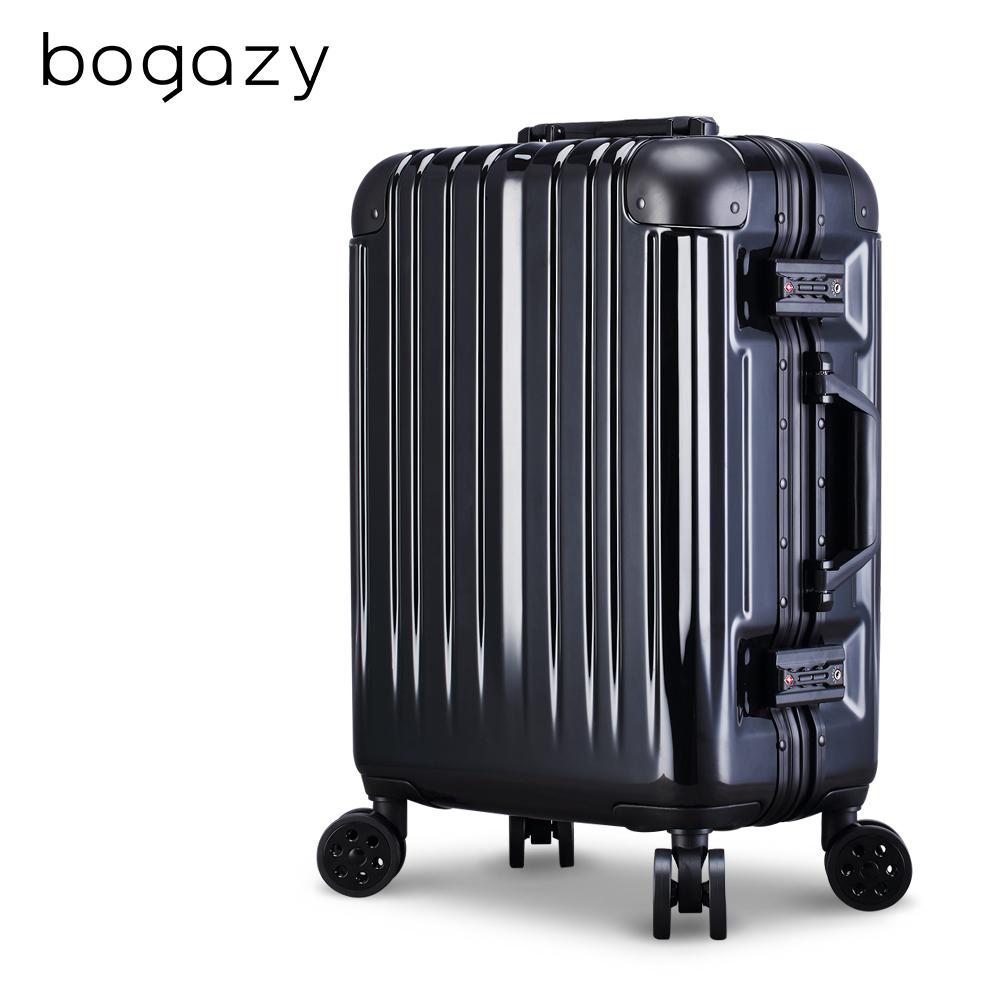 Bogazy 迷幻森林III 20吋鋁框新型力學V槽鏡面行李箱(太空黑)