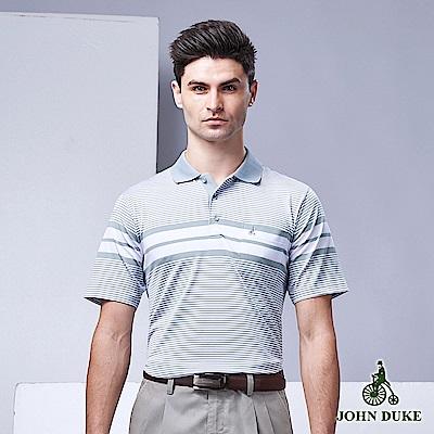 JOHN DUKE專業級戶外休閒刺繡POLO衫_灰/白(99-9V6103)