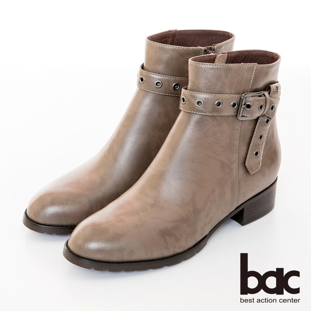 【bac】中性時尚雙色感簡約皮帶環釦短靴-雙芋色