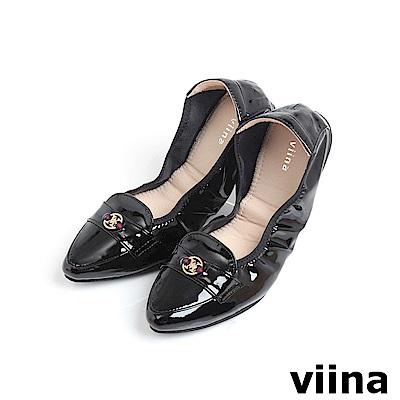 viina 尖頭織帶小LOGO摺疊鞋MIT-黑