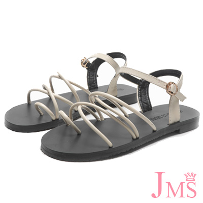 JMS-沁涼夏日雙交叉線條夾腳平底涼鞋-米色