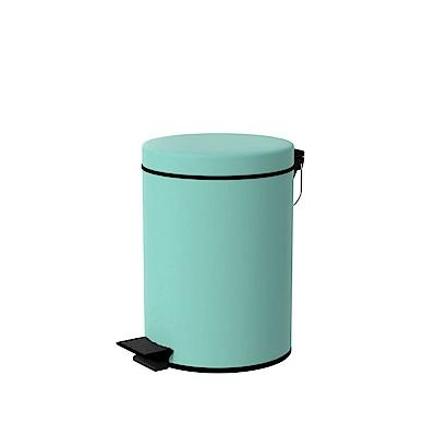 TRENY 加厚 緩降 不鏽鋼垃圾桶 5L (湖水藍)