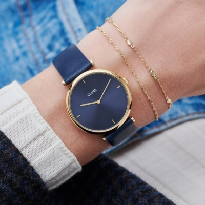 CLUSE Triomphe凱旋門系列腕錶(金框/深海藍錶面/深海藍皮革錶帶)-33mm