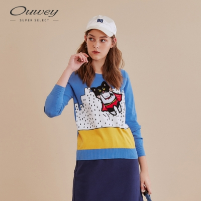 OUWEY歐薇 貓咪超人針織上衣(藍)