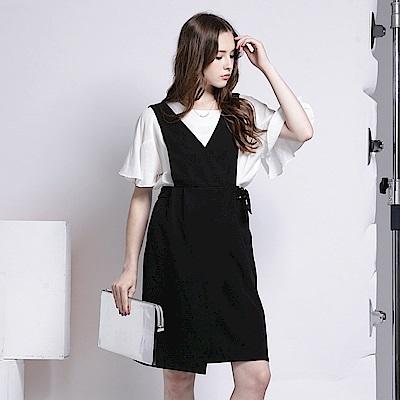 前交叉造型金屬釦環吊帶裙.2色-OB嚴選