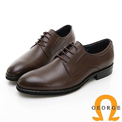 【Amber】商務時尚 素面圓頭紳士皮鞋-咖啡色