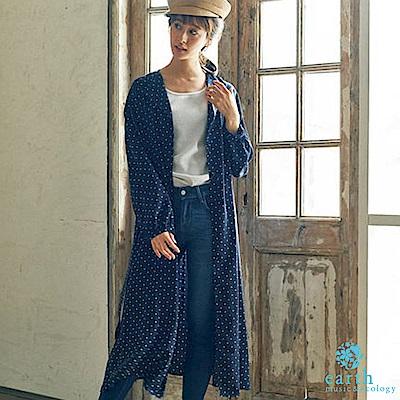 earth music 點點腰綁帶連身洋裝/罩衫-深藍色