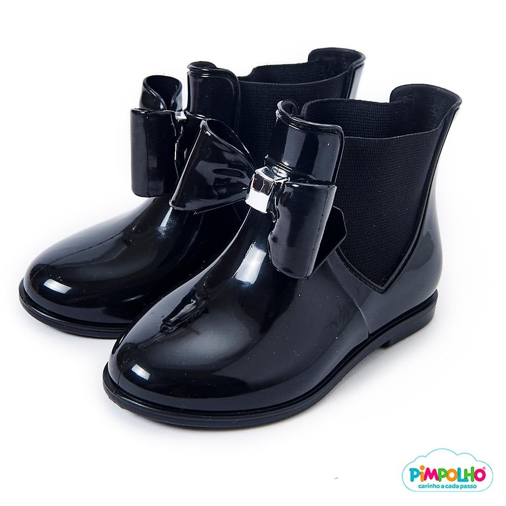 Pimpolho 甜心蝴蝶結小童雨靴-黑色