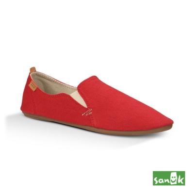 SANUK 女款 US7 復古舞鞋設計休閒鞋(紅色)