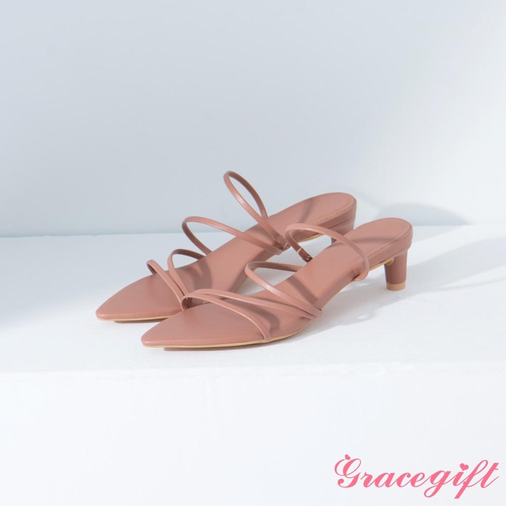 Grace gift-尖頭層次細帶中跟涼鞋 深杏