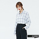 H:CONNECT 韓國品牌 女裝-輕薄亮眼格紋襯衫-白